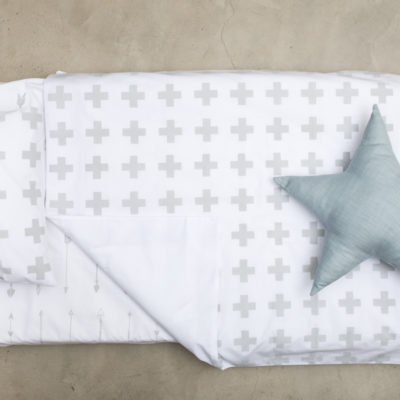 Grey Swiss Cross Cot Duvet