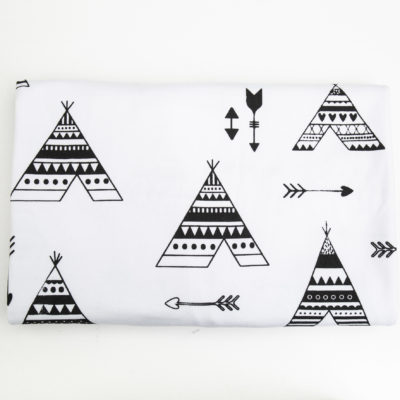 Stretch Cotton Blanket – Black Teepee