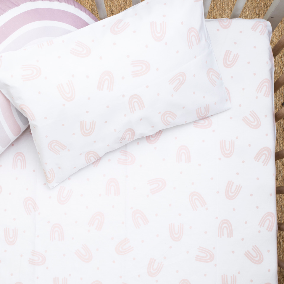 Blush rainbow co-sleeper fitted sheet