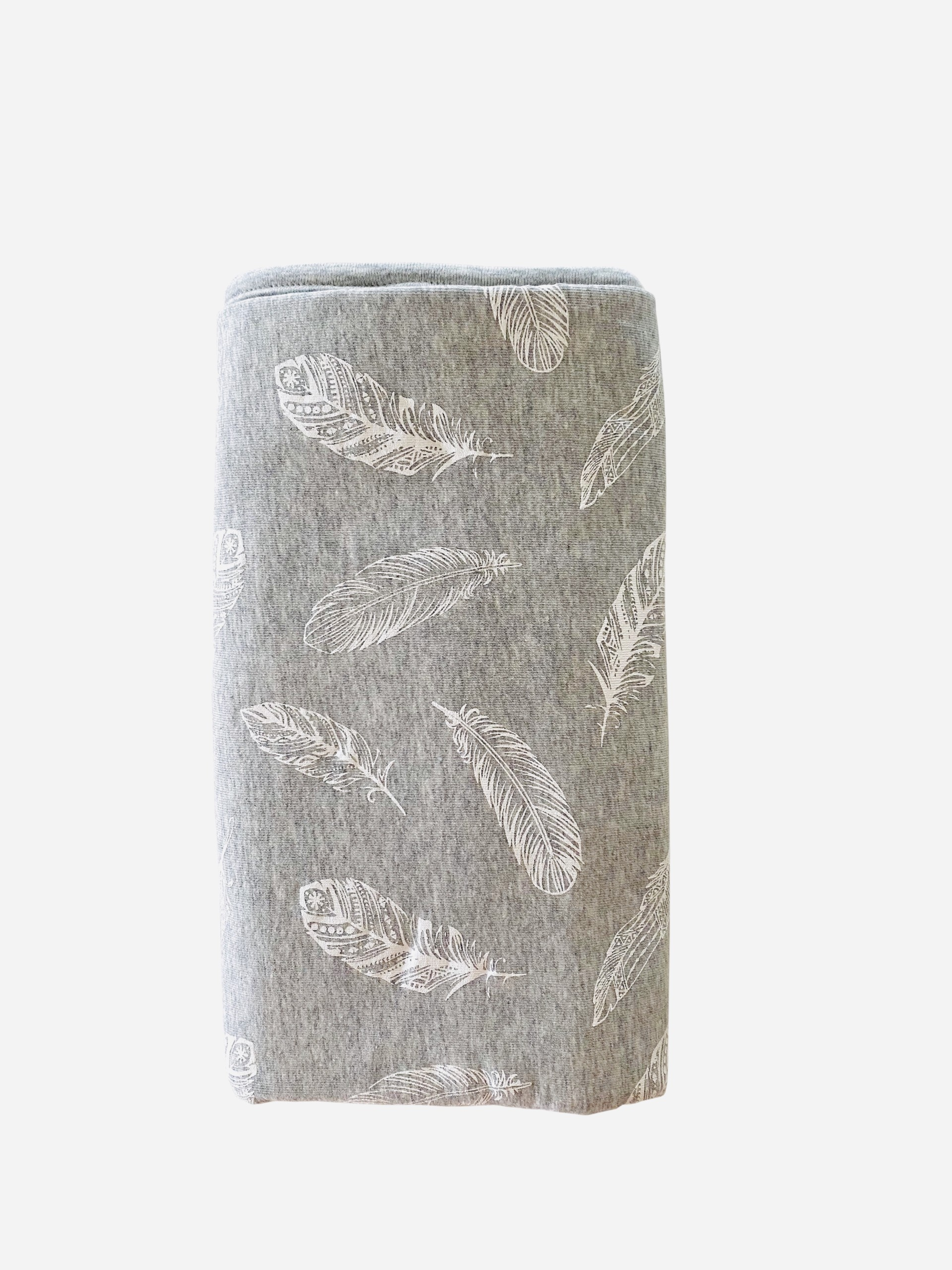 Stretch Cotton Blanket - Feathers on grey melange
