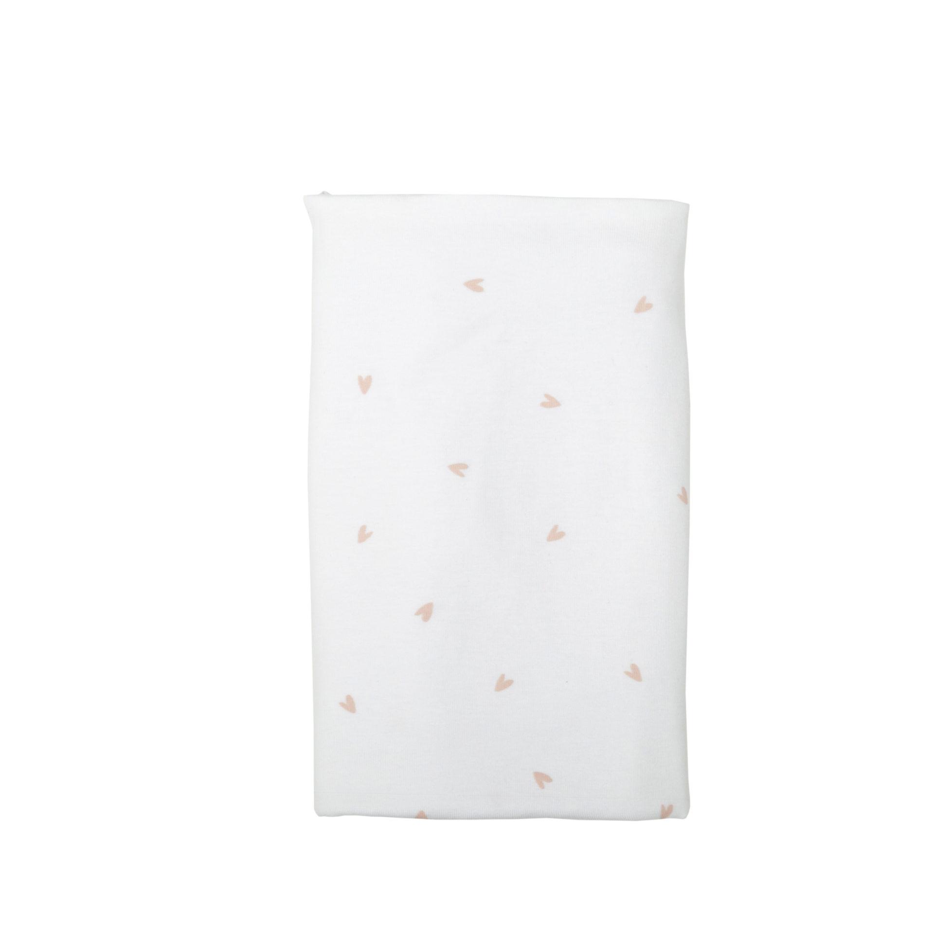 Stretchy Cotton Knit Blanket: Blush Hearts