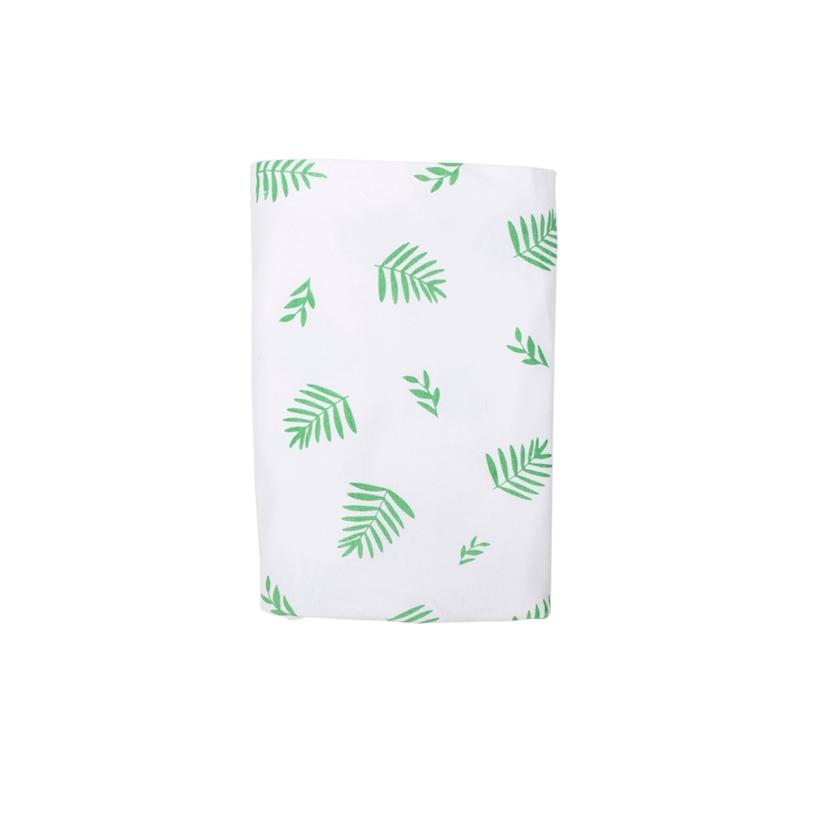 Stretch Cotton Blanket - Leaf on white
