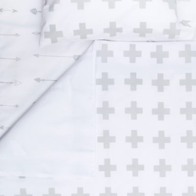 Grey Swiss Cross – Large Cot Sheet
