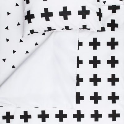 Black Swiss Cross Cot Duvet