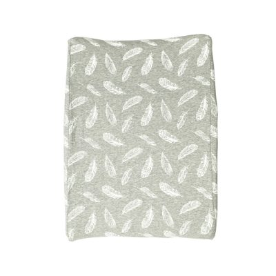 Change Mat Cover – Grey & White Feathers
