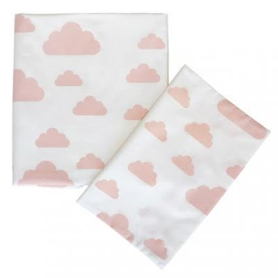 Cot Fitted Sheet – Pink Cloud