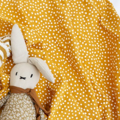 Small Smudge Dot Muslin Wrap – Mustard